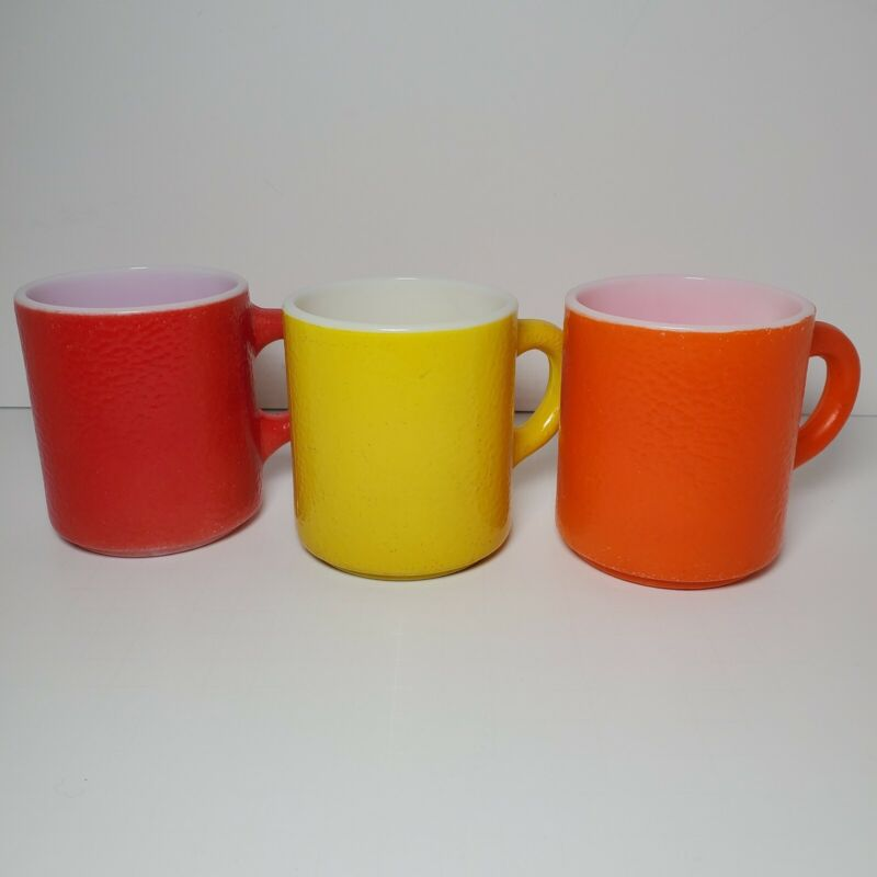 Lot 3 Federal Coffee Mugs Cups Milk Glass Textured Mid Century Vintage