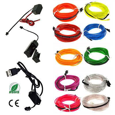 2M 10M LED Flexible Neon Light Glow EL Strip Tube Cool Wire Rope Home Car Decor