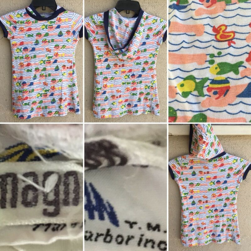Vintage Bathing Suit Swiimsuit Coverup Cover TM Harbor Inc I Magnin 7 Swim Print