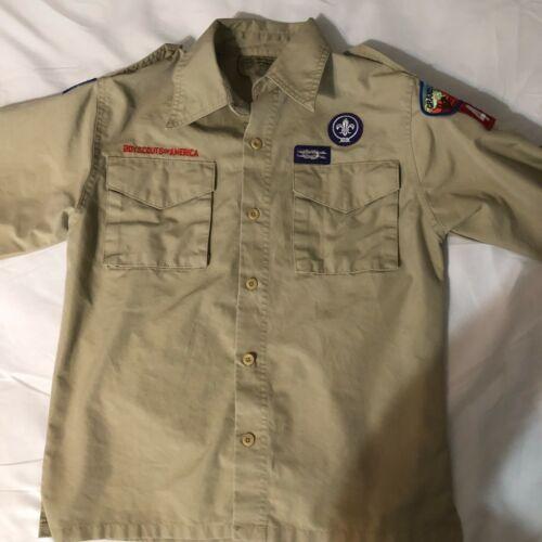 Official BSA Boy Scout tan uniform shirt  Y Medium Grand Canyon Cncl new style