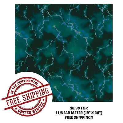 Hydrographic Water Transfer Hydro Dipping Film Teal Lightning 1m 19 X 38