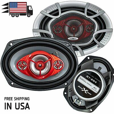 """New SoundXtreme 6x9"""" 4-Way 520 Watts Coaxial Car Speakers CE"""