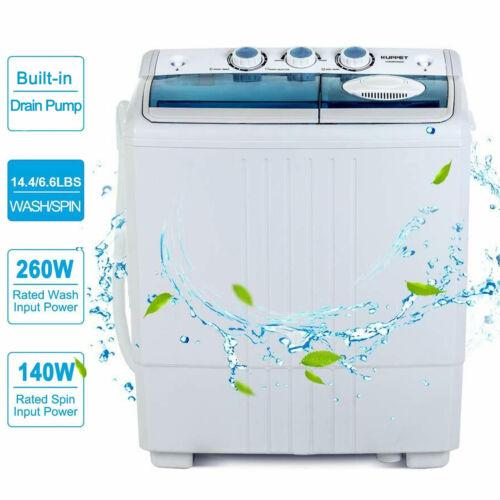 21LBS Mini Portable Washing Machine w/ Drain Pump Compact Tw