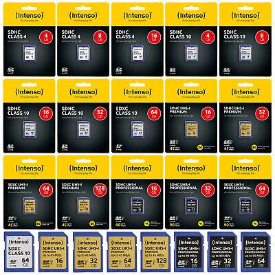 Intenso SD Karte 4 - 128 GB Class 10 4 SDHC SDXC UHS-I Speicherkarte Memory