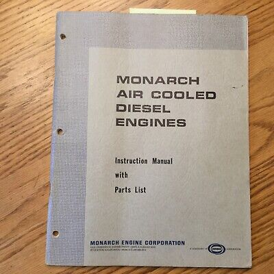 Monarch Air Cooled Diesel Engine Operation Maintenance Manual Parts List Csr Msr