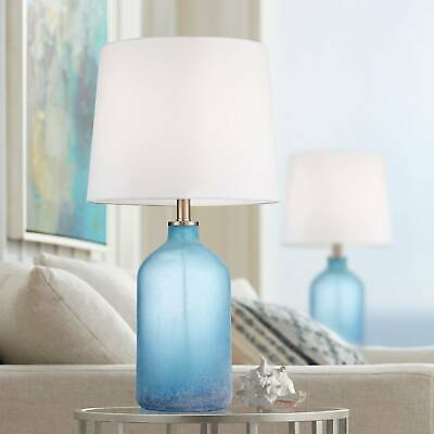 Coastal Table Lamp Set of 2 Blue Frosted Glass for Living Room Bedroom 2 Table Lamp Set
