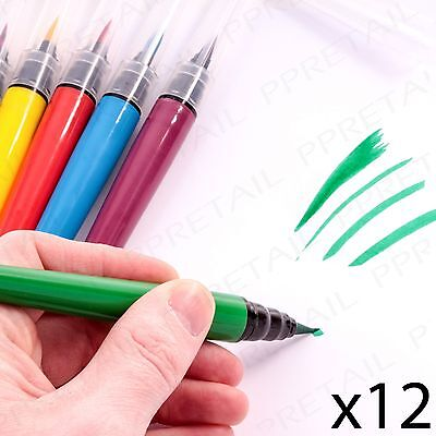 PACK OF 12 PAINT BRUSH MARKER PENS Thick Felt Tip Colouring Kids Creative Fun
