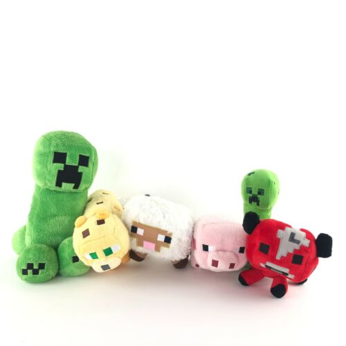 "Minecraft Plush Lot of 6 Ocelot Red Bull Pink Pig Sheep Green Creeper 11"" & 7"""