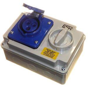 16 amp interlocked socket 3 pin with switch weatherproof IP44 16A 220 - 250 volt