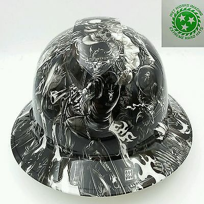 Hard Hat FULL BRIM custom hydro dipped , OSHA approved  DEATH RIDER  !! NEW !
