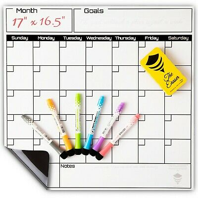 Dry Erase Calendar Set-monthly Fridge Calendar Whiteboard-large Magnetic Board