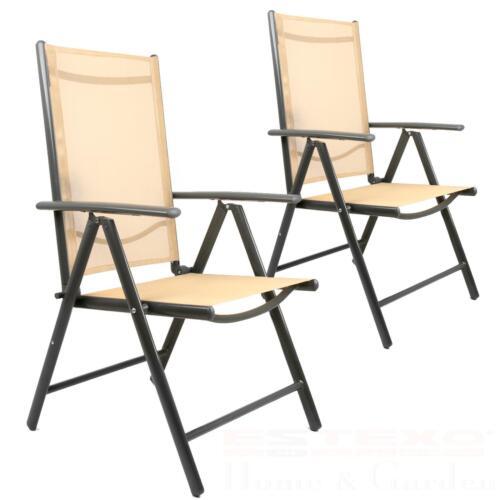 Gartenstuhl Beige Hochlehner Campingstuhl Klappstuhl Alu Stuhl Stühle 2er Set