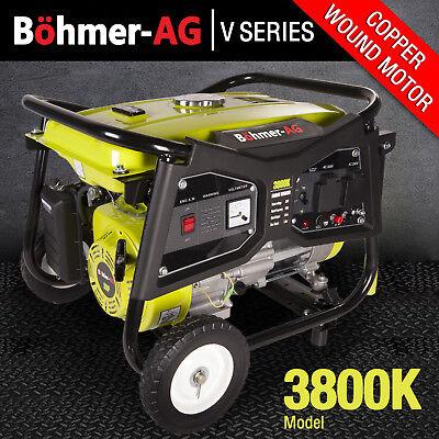 Portable Petrol Generator 3000w ~ 3.8 KVA 4 Stroke 8HP ~ 3800K Bohmer Easy Start