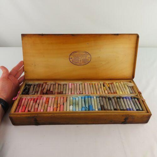 Rare Antique Girault Pastels in Original Box French c1920 era? 2 pallets