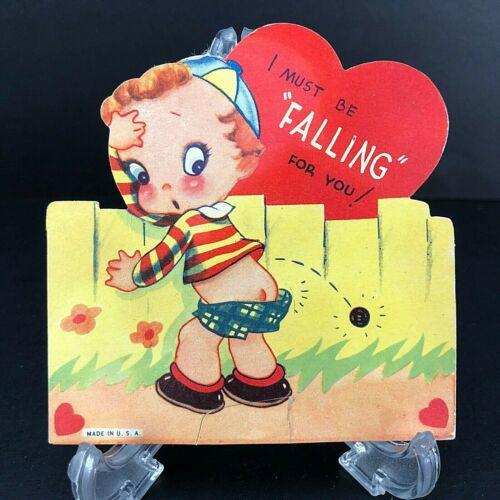Vtg Antique Valentines Card Little Boy Bottom Unusual c. 1920s 30s USA Die Cut