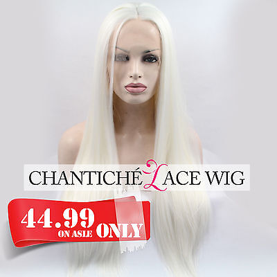 Synthetic Hair Lace Front Wig Platinum White Blonde Long Straight Heat - Long White Blonde Wig