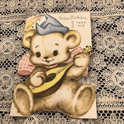 Vintage Greeting Card  1st Birthday Cute Bear Ukulele, used for sale  Shipping to Canada