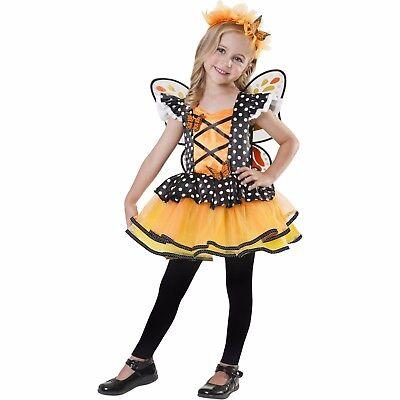 NEW Girls 3T-4T Halloween Costume Monarch Fairy 3 Piece Costume Wings Dress - 3t Halloween Costumes Girl
