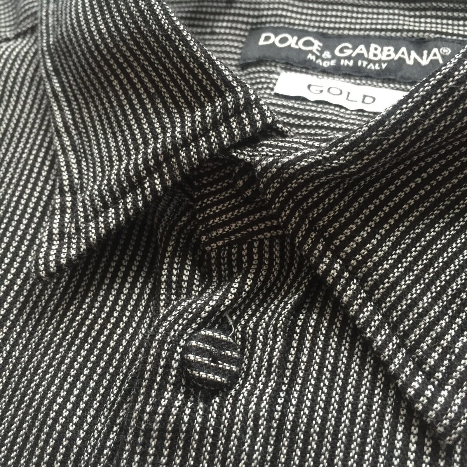 NWT 415 Dolce  Gabbana Mens Black  White Striped Button Down Shirt AUTHENTIC