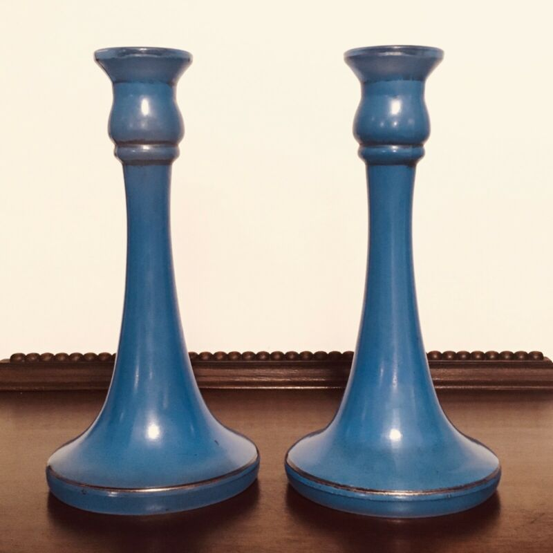 """Pair Vintage Antique Art Deco Blue Colored Glass Candlesticks Holders 9"""" Tall"""