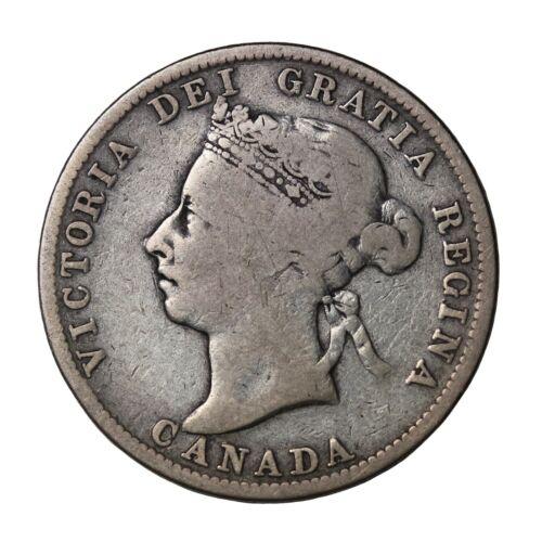 1899 Canada Silver 25 Cents Quarter Queen Victoria British Coin km#5