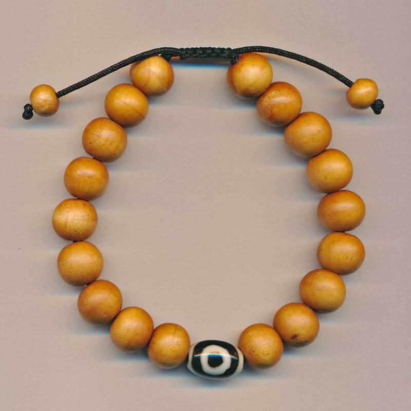 Wood Bracelet Pearls Braun Black White Bohemian Buddhism Buddha Round Nepal 66d