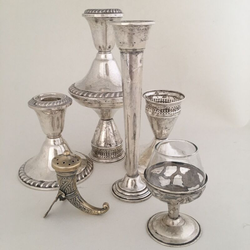 Lot of 7 Pcs. Sterling Silver Weighted Candle Holders SCRAP / NOT SCRAP 2 Pounds