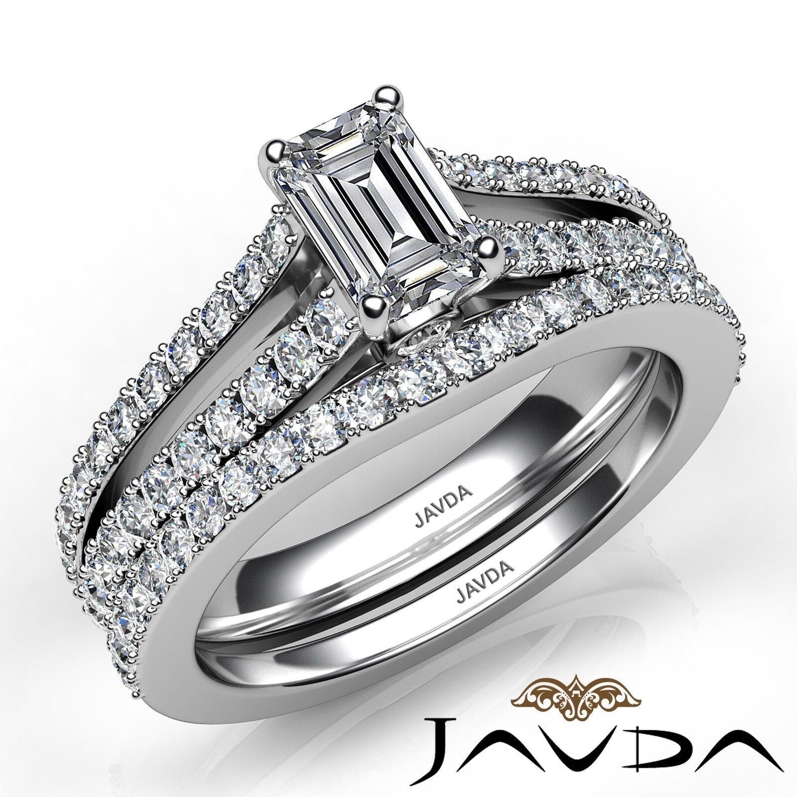 1.51ctw Split Shank Bezel Bridal Set Emerald Diamond Engagement Ring GIA E-VVS1 1