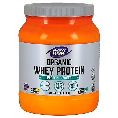 NOW Foods Whey Protein, Organic Unflavored Powder, 1 lb. Organic Whey Protein Powder