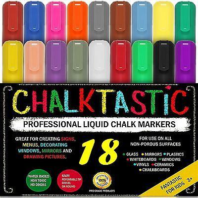 CHALK MARKERS By FANTASTIC ChalkTastic MEGA 18 Pack, BEST for Kids Art, Menu