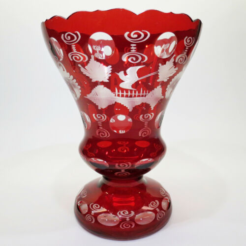 """Antique Ruby Red Vase Clear Etched Crystal Bohemian Glass Czech 8x6"""" large"""