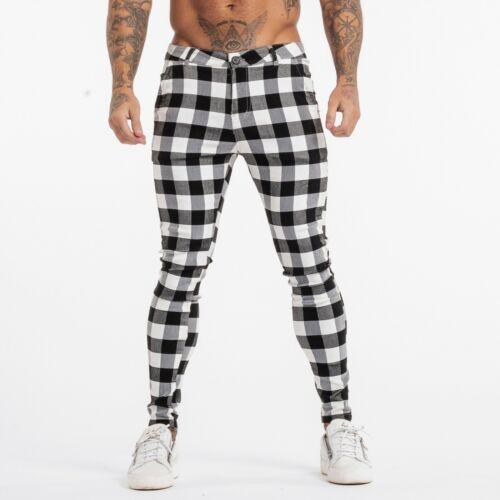 Gingtto Men Chinos Trousers Skinny Super Stretch Slim Fit Spandex Plaid Pants