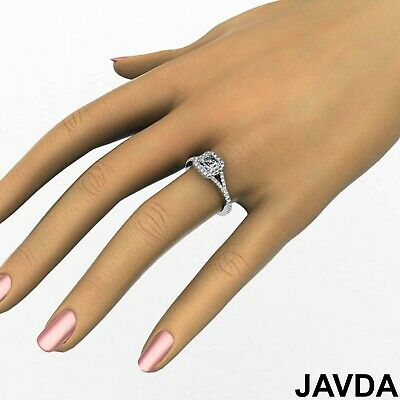 French Set Pave Split Shank Halo Asscher Diamond Engagement GIA G VVS2 Ring 1 Ct 5
