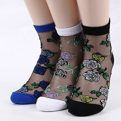 [Free shipping] Clear Roses See Through Mesh Lady Socks (5PAIRS) dress dance GM