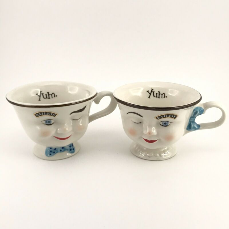VTG Baileys Irish Cream YUM Winking Eye Face Mr Mrs Tea Coffee Mug Blue Bow