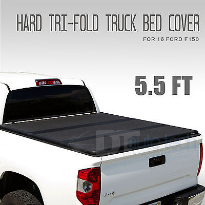 2004-2017 Ford F-150 Lock Hard Solid Tri-Fold Tonneau Cover 5.5ft Truck Bed