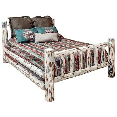amish made queen log bed frame rustic