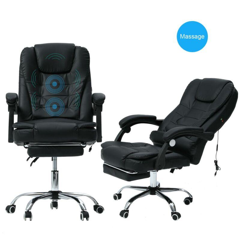 Bürostuhl Lux XFM Kunstleder Schreibtischstuhl Fußablage Massagefunktion Pcstuhl