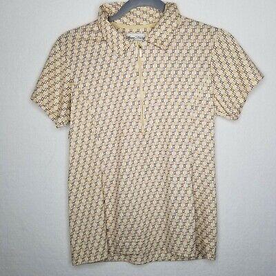 Sport Haley Golf Shirt Beige Geometric Print Collared Short Sleeve 1/4 Zip EUC Short Sleeve Printed Zip