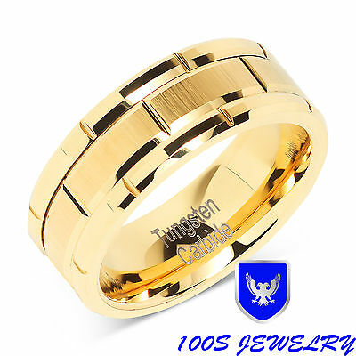 Groove Wedding Band (8mm Men's Tungsten Ring Wedding Band 14k Gold Brush Center & Grooves Size 8-16 )