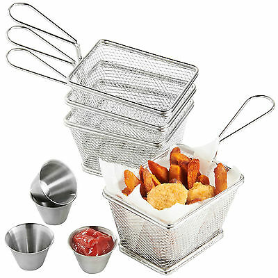 VonShef Set of 4 Mini Chip Food Presentation Serving Fry Baskets & Dipping Bowls