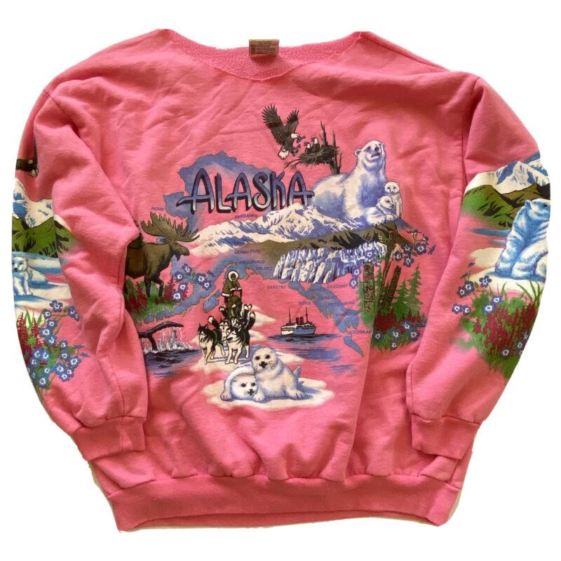 Vintage Womens Sz L Alaska Lifestyles Resort Wear Pink Sweatshirt Puff Paint