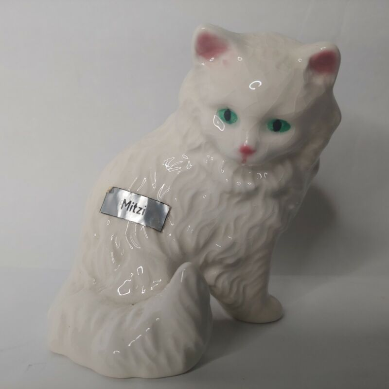 Goebel West Germany Cat Figuring White Long Haired Fluffy Mitzi Hand Painted EUC