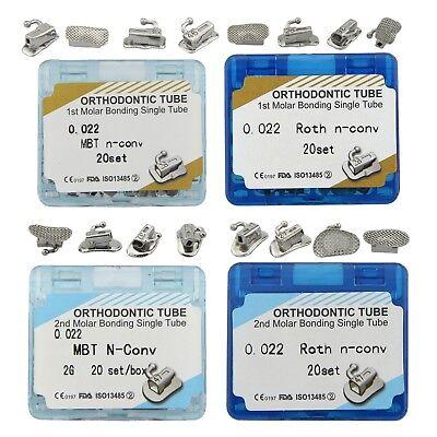 80pcs Dental Orthodontic Buccal Tubes 1st 2nd Molar Tube Bonding Mbt Roth 022