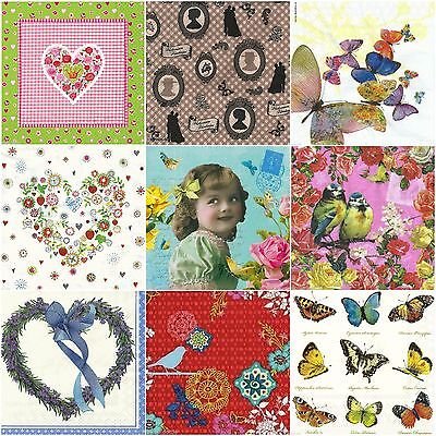 Paper Napkins Butterflies Vintage Flowers Cute Party Decoupage 4 or 20 Napkins