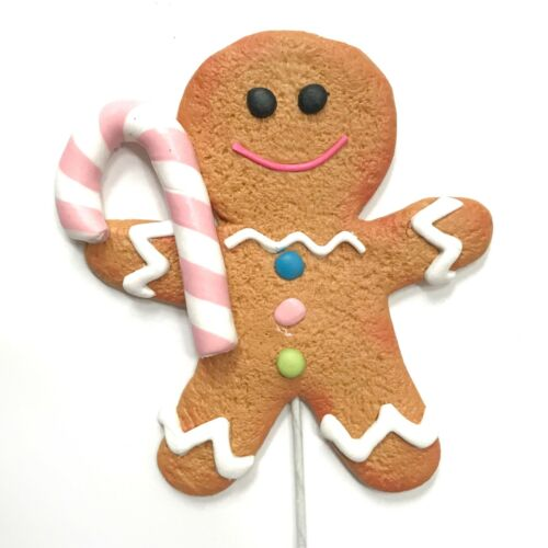 Gingerbread Man Girl Cookie Candy Cane Christmas Ornament Pick Wreath Decor Pink