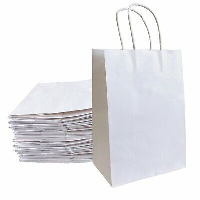 8x4.25x10.5 Kraft Paper Bags Gift Bag With Handles For Wedding Party Shopping