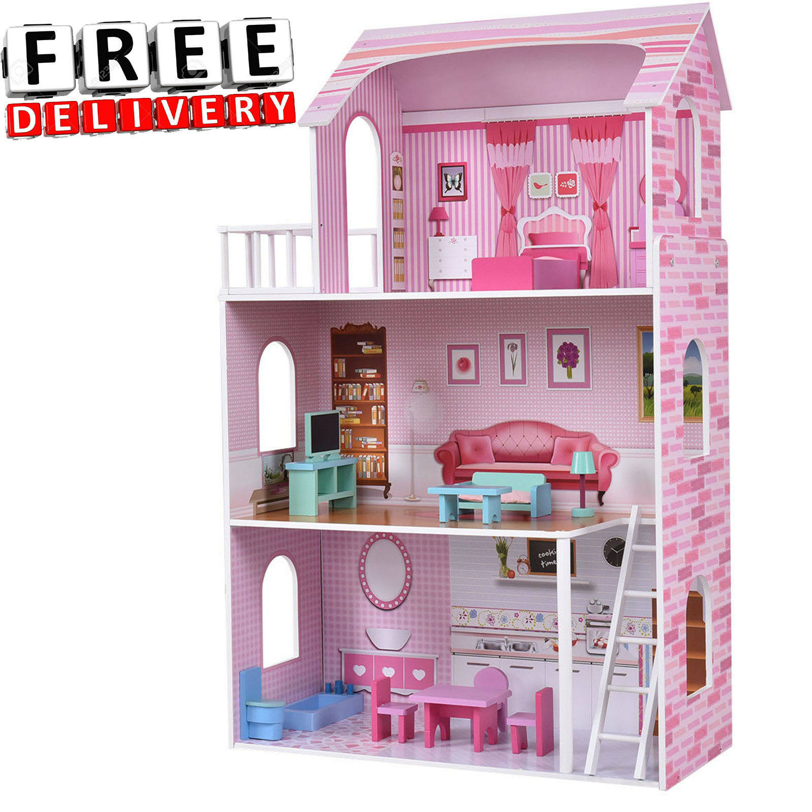 Barbie Dream House Size Dollhouse Furniture Girls Playhouse Play Wood Townhouse