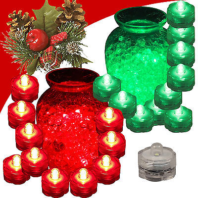 QTY 20 LED Submersible Underwater Christmas Tea lights Flameless 10 RED 10