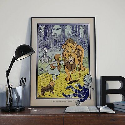 The Wizard Of Oz Cowardly Lion Book Illustration Poster Print Picture A3 (Wizard Of Oz The Lion)